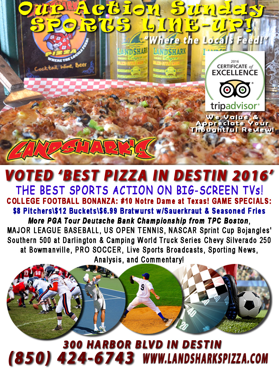 Destin FL Sports Action on Big Screen Sports Bar Landshark's Pizza