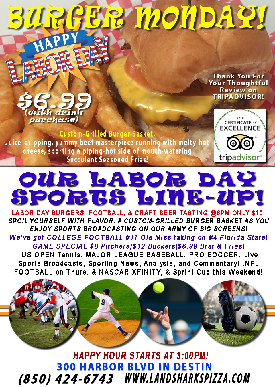 Labor Day Destin FL Burgers Football at Landshark's Pizza and Wings