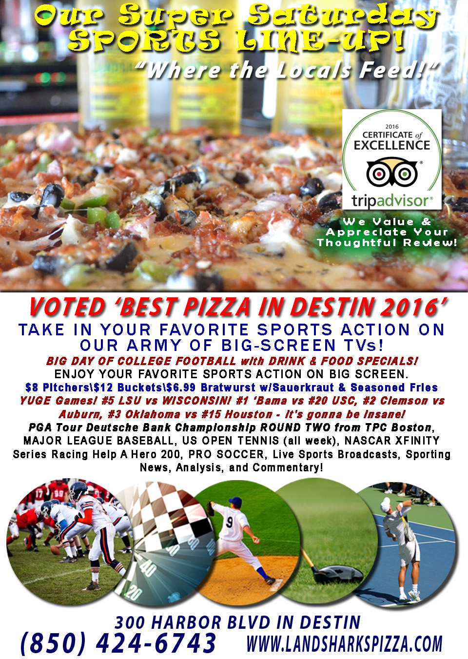 Sports TV Destin FL Sports Bar Dining Landsharks Pizza