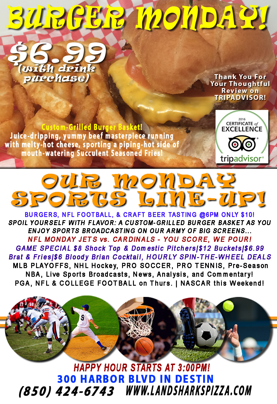 Burger Monday Landshark's Pizza NFL Craft Beer