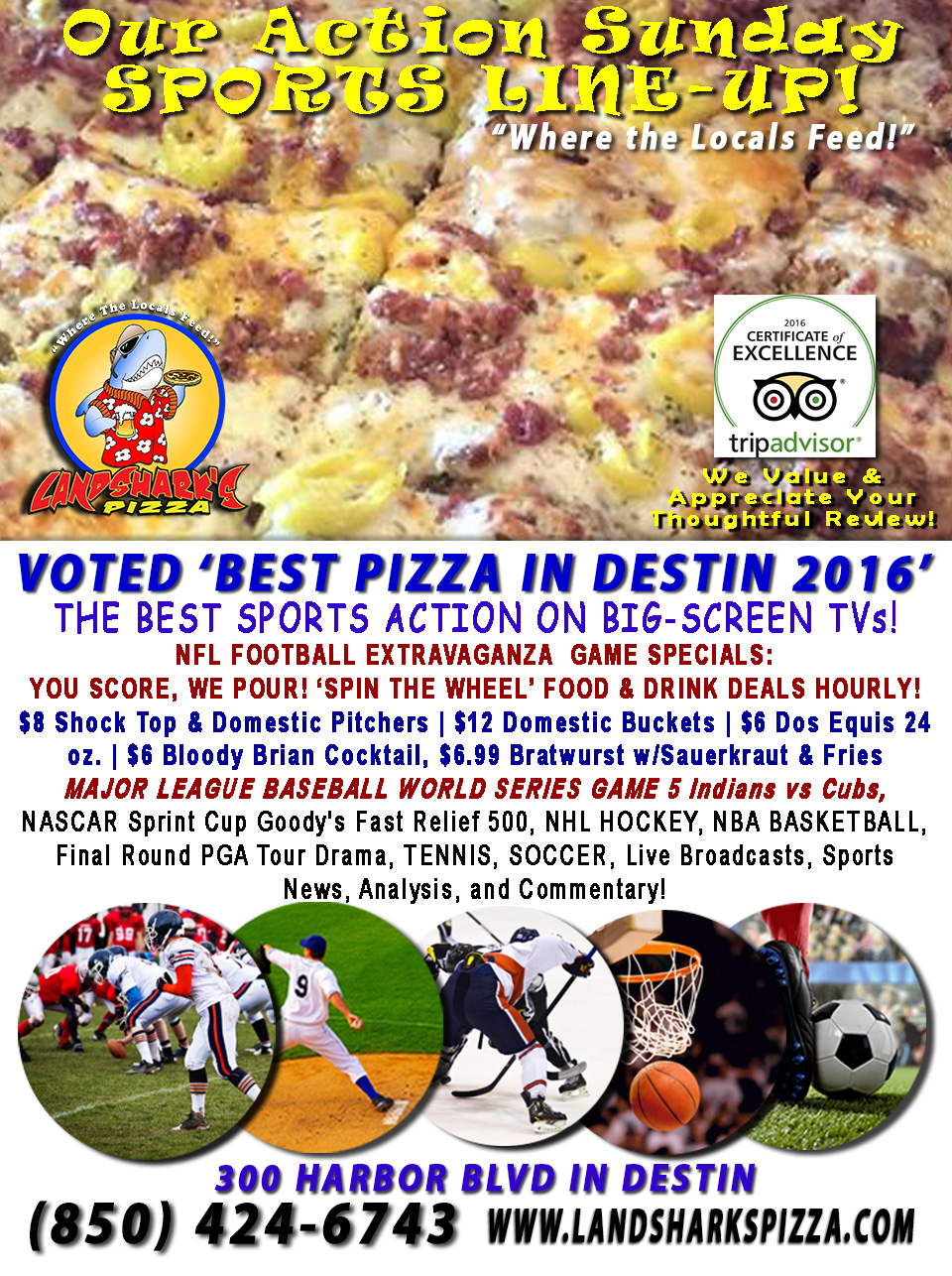 destin-fl-nfl-football-sunday-landsharks-pizza-hourly-specials-10-30-16a