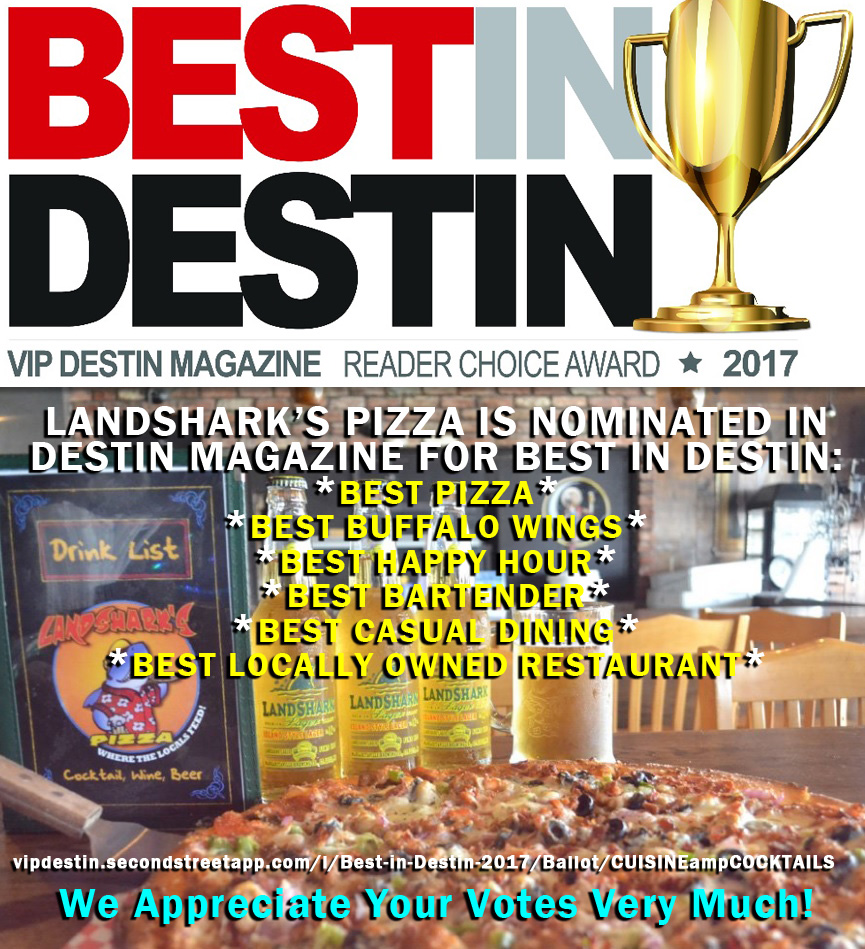 Landshark's Pizza Nominated Best Wings & Best Pizza in Destin FL