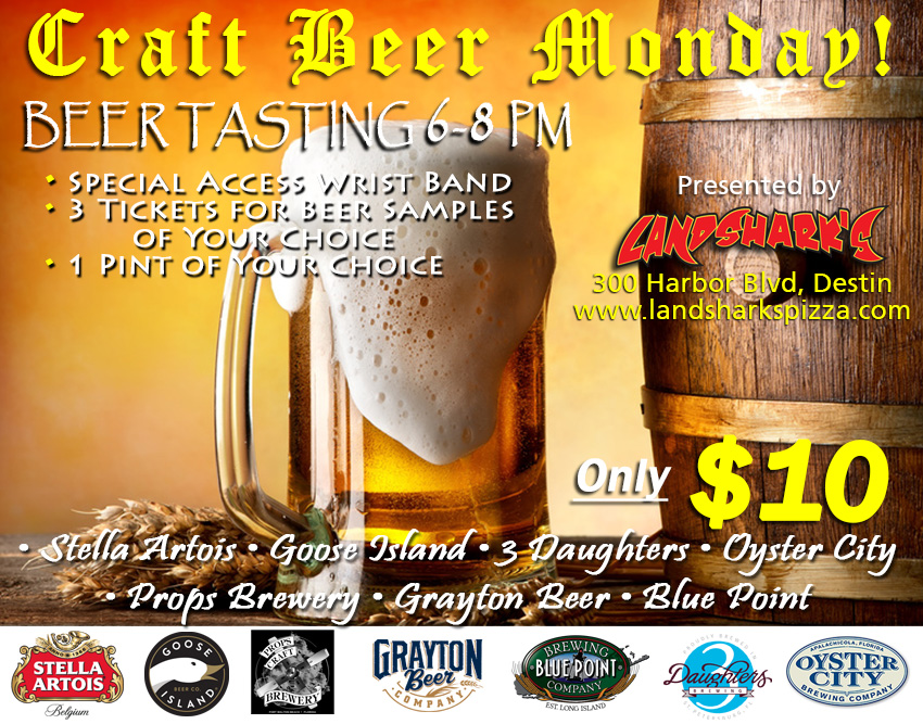 Destin Craft Beer Tasting at Landshark's Pizza!