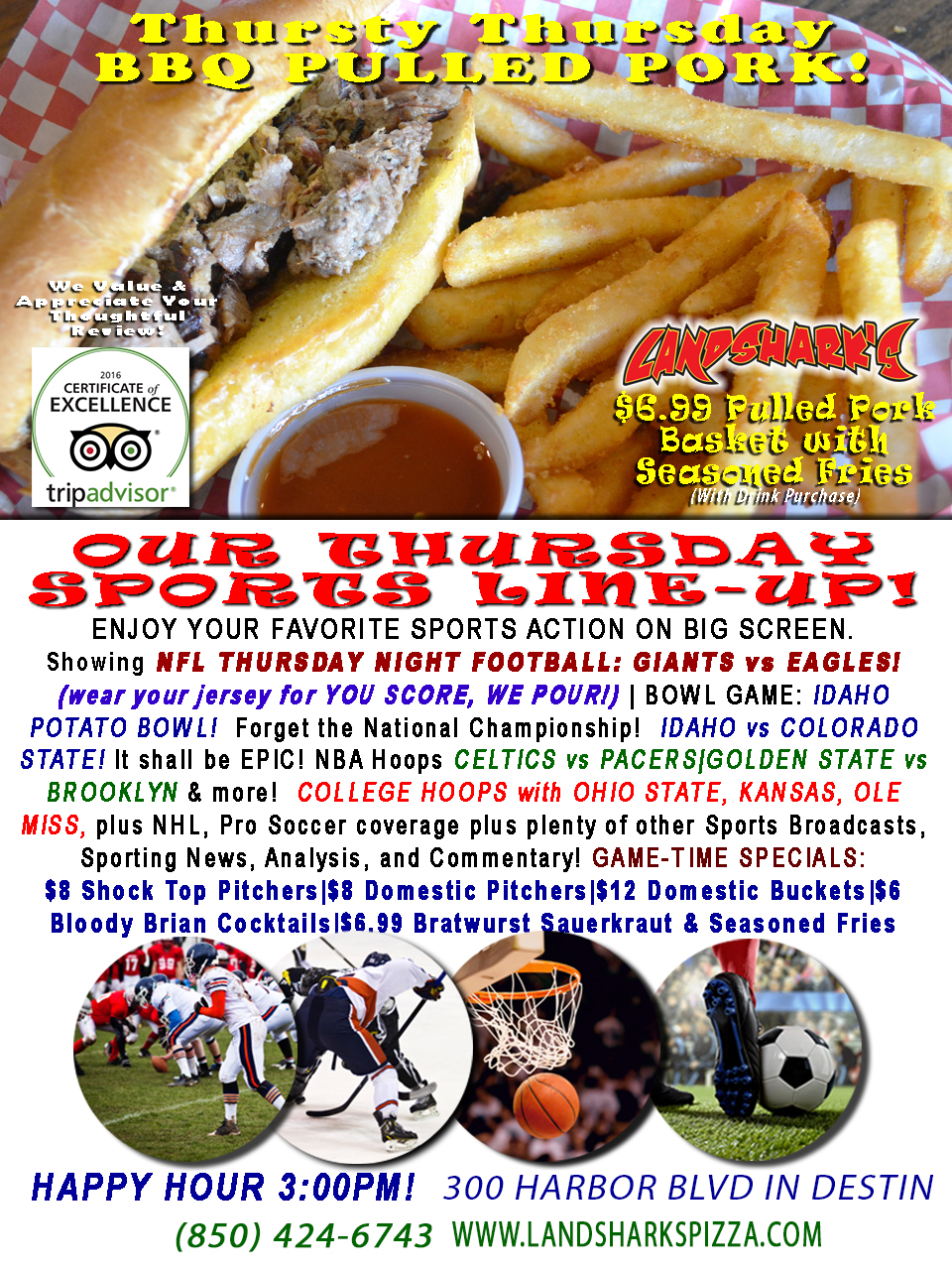 CHRISTMAS-TIME BBQ $6.99 BBQ Basket, THURSDAY NIGHT NFL GIANTS vs EAGLES with YOU SCORE, WE POUR, Hockey, NBA & NCAA Hoops!