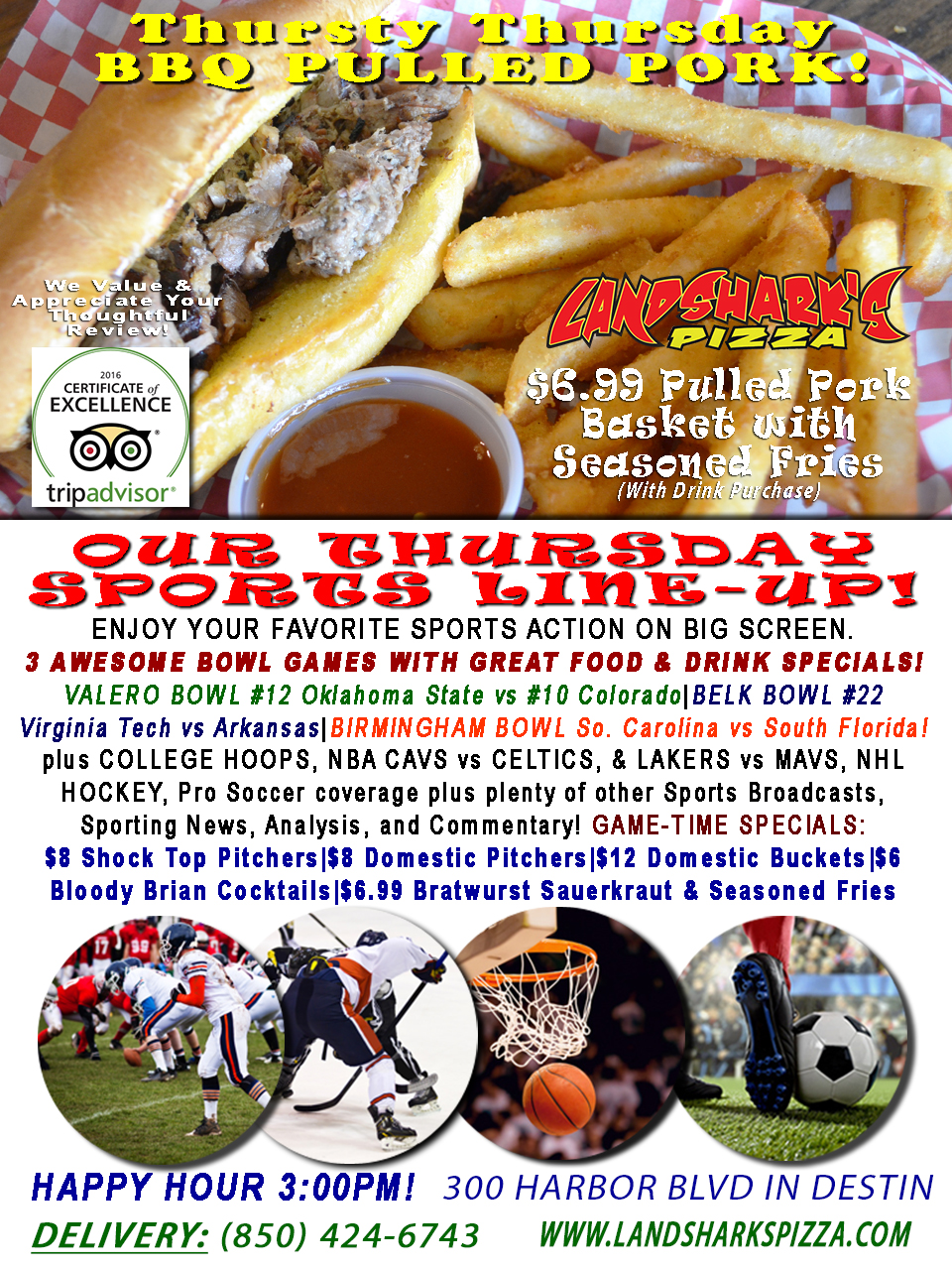 HAVE MERCY THAT'S GOOD! $6.99 BBQ Basket, 3 AWESOME COLLEGE FOOTBALL BOWL GAMES, Hockey, NBA & NCAA Hoops!