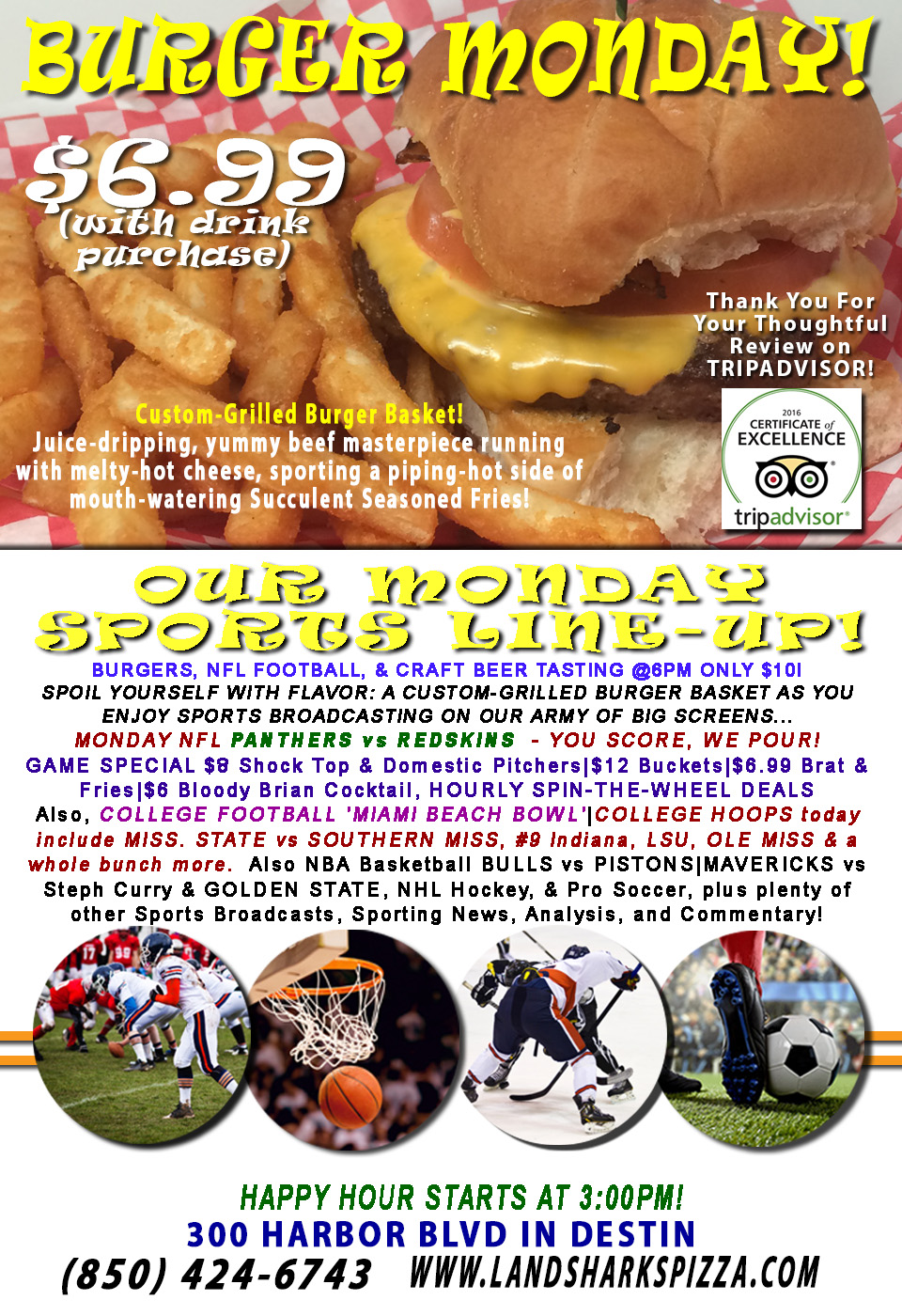 NFL TODAY The REDSKINS vs CAM NEWTON'S WARDROBE, GAME-TIME SPECIALS! Craft Beer Tasting@6PM! NBA, NHL, & Pro Soccer & MORE!