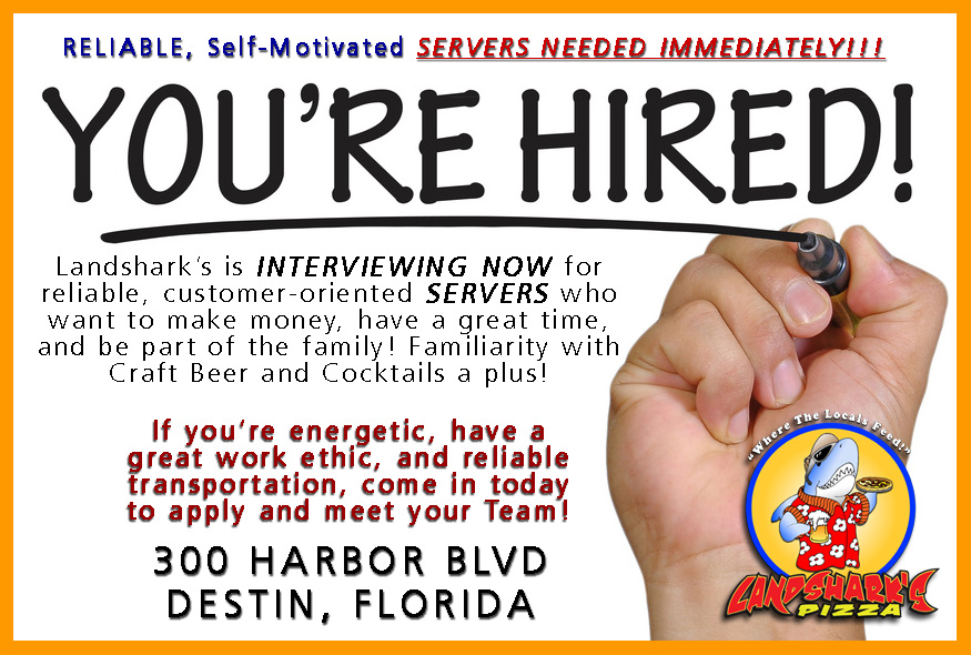 Jobs in Destin FL Landsharks Pizza Co NOW HIRING