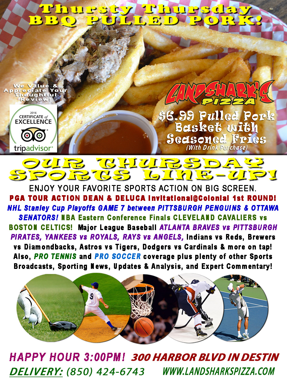 PGA DEAN & DELUCA, NHL & NBA Playoffs, MLB & Destin's BEST TRADITIONAL BBQ Basket only $6.99!