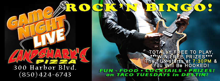 Rockn Bingo in Destin FL at Landsharks Pizza Taco Tuesdays