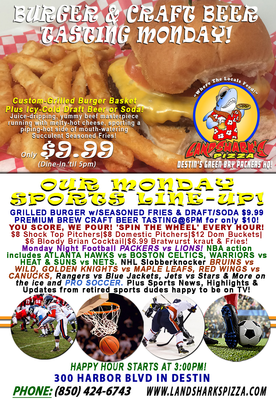 Burger & Brew Monday PACKERS vs LIONS YOU SCORE, WE POUR – $9.99 Grilled Basket & CRAFT BEER TASTING@6PM!