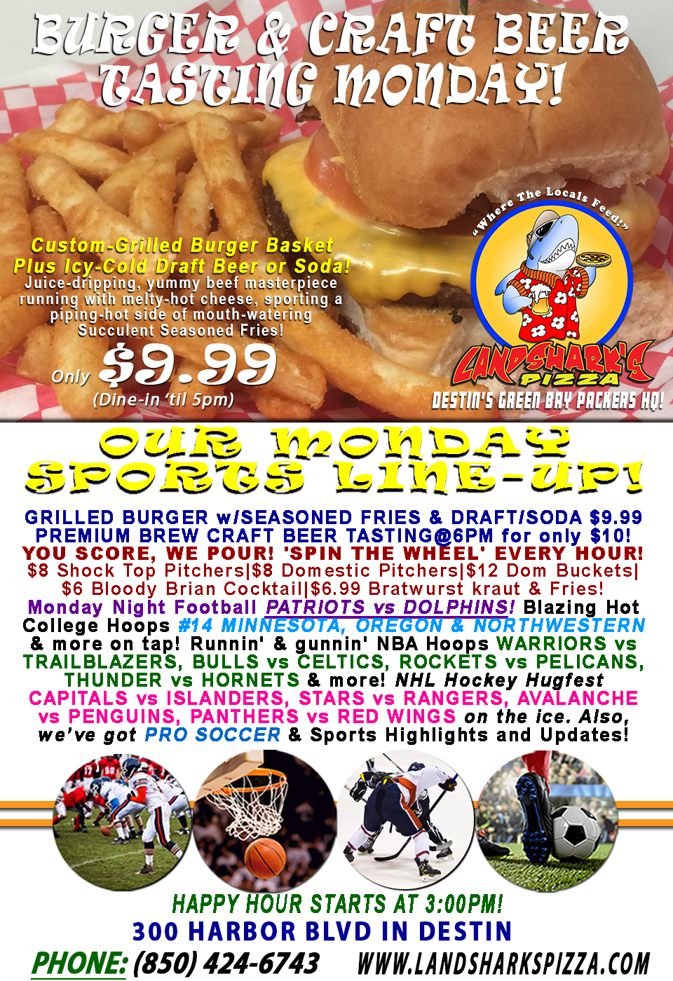 Sunny Burger & Brew Monday PATRIOTS vs DOLPHINS & You Score, We Pour|College Hoops, NHL & CRAFT BEER TASTING!