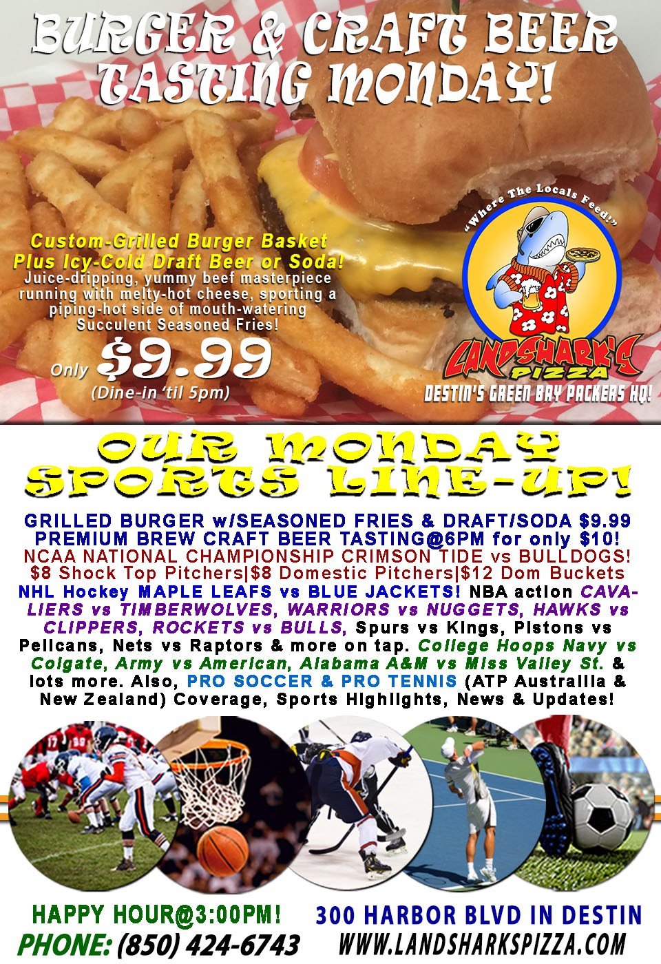 NATIONAL CHAMPIONSHIP Burger & Brew Monday CRIMSON TIDE vs BULLDOGS Specials All Day|BEER TASTING@6PM!