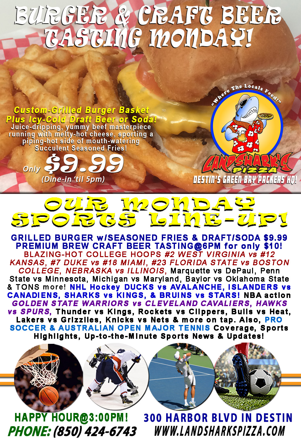 Steamy-Hot Grilled Burger & Brew Monday College Hoops #2 WEST VIRGINIA vs #12 KANSAS|BEER TASTING@6PM!