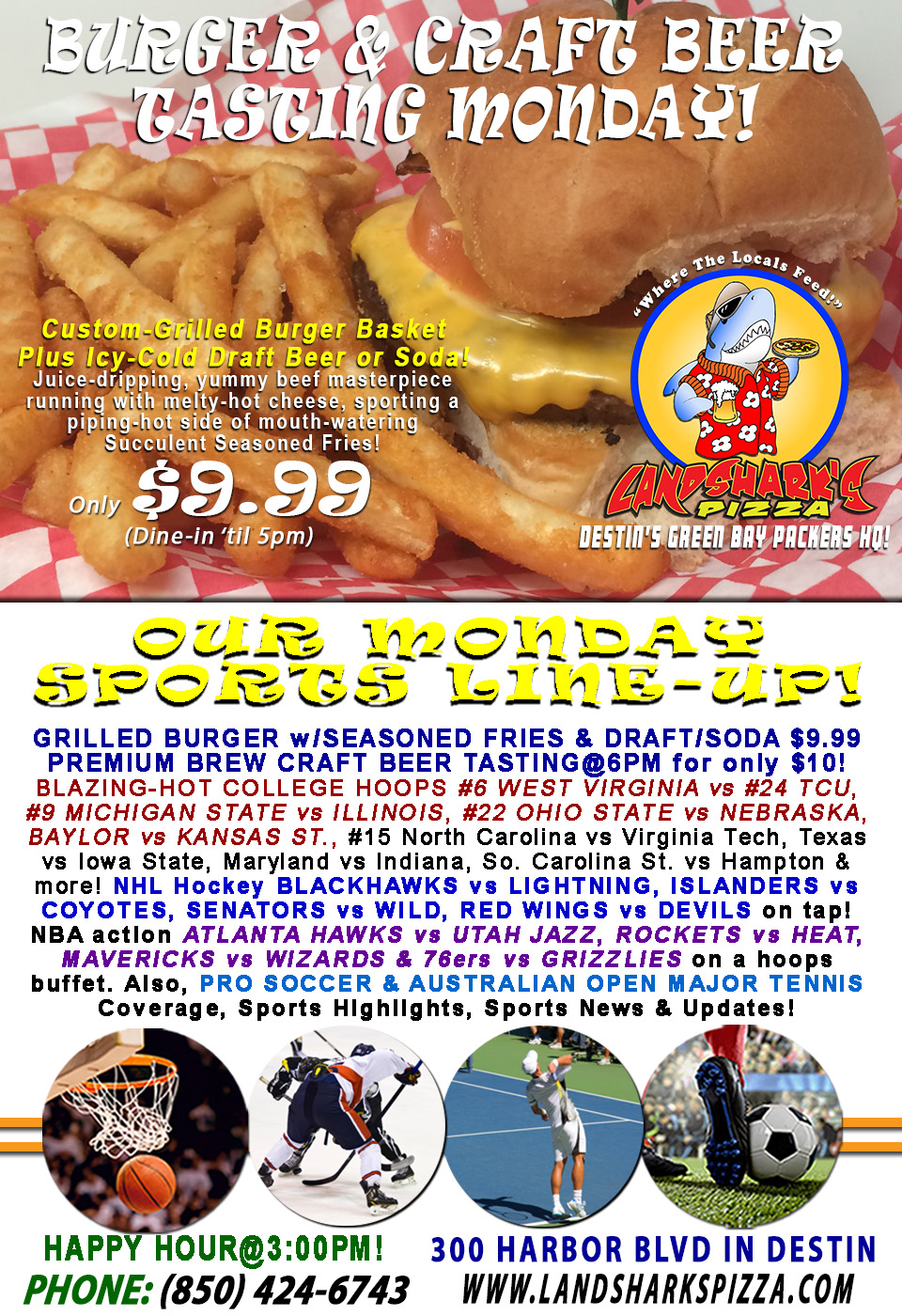 Sizzling Burger & Brew Grubfest Monday Special with College Hoops OHIO STATE vs NEBRASKA|Premium Craft BEER TASTING@6PM!