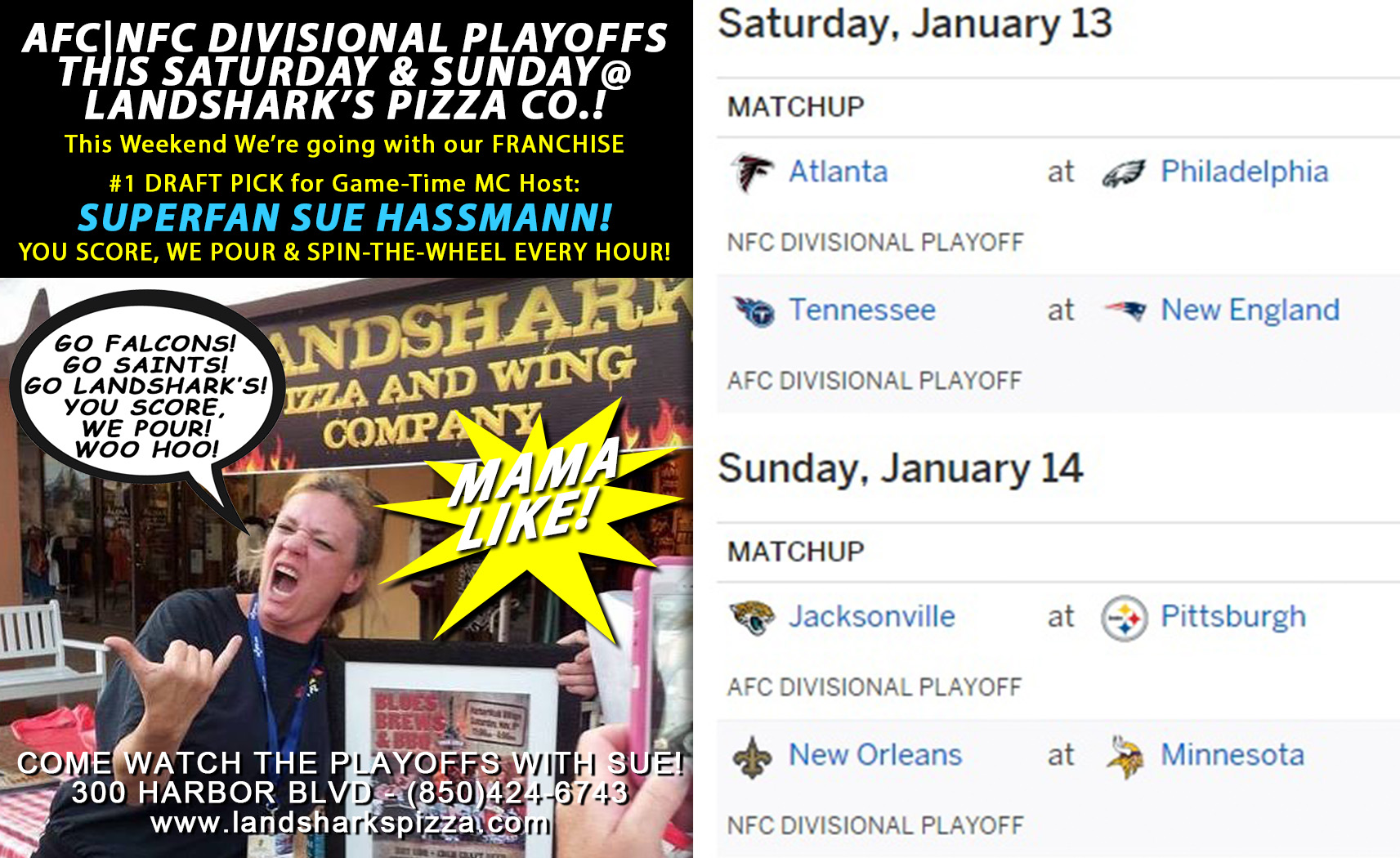 AFC|NFC Playoffs Weekend Hosted by Sue! You Score, We Pour & Spin-the-Wheel Sat & Sun!