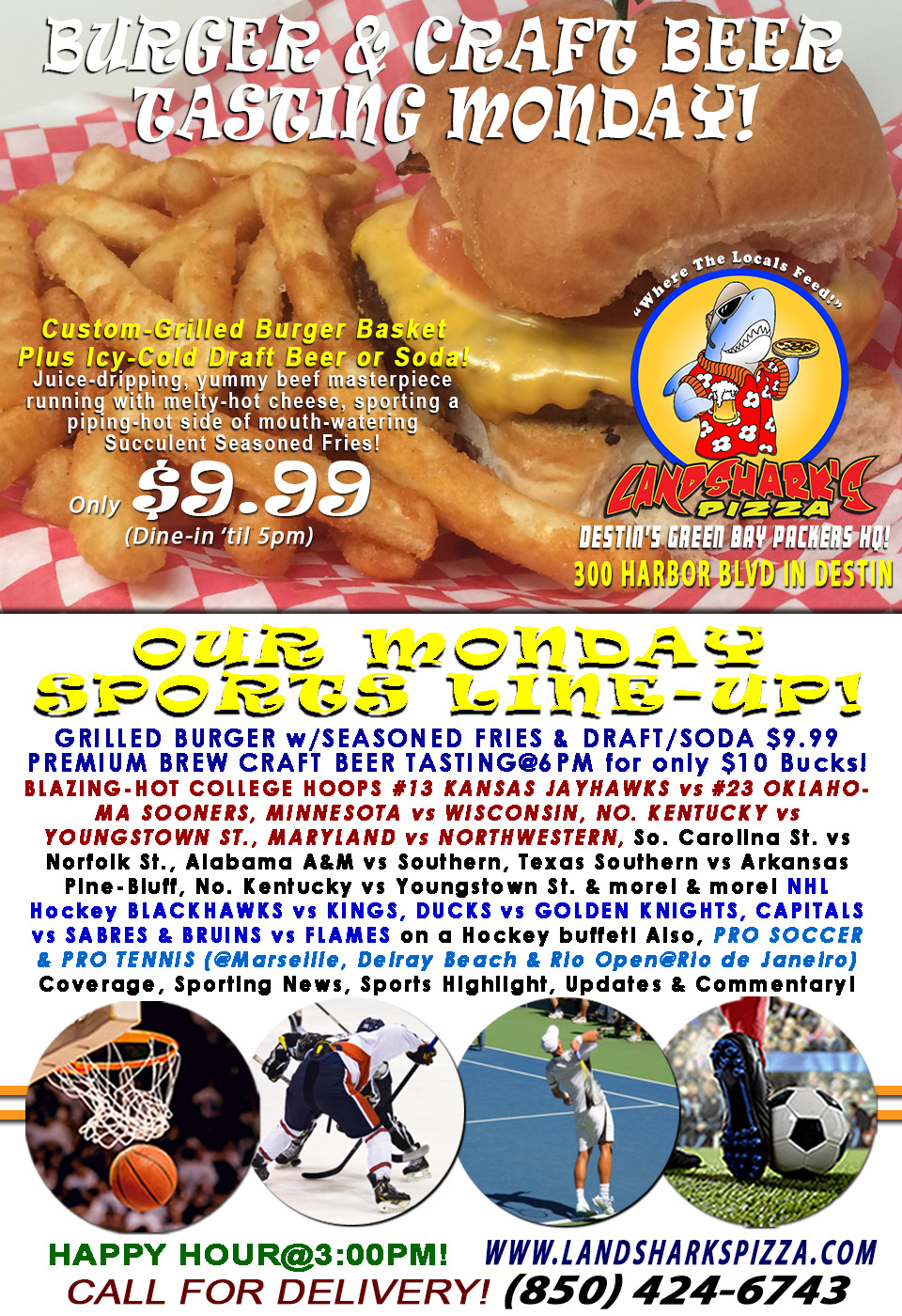 Hot & Melty Grilled Burger & Brew Monday JAYHAWKS vs SOONERS College Hoops & Craft BEER TASTING@6PM!NHL, NBA & more!