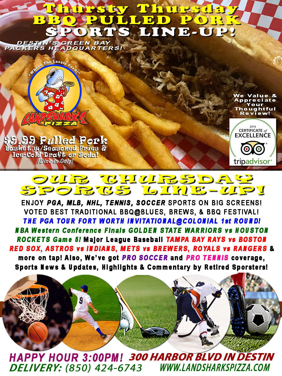 Thursty Thursday $9.99 Awesome BBQ & Brew Special|NBA Playoffs WARRIORS vs ROCKETS, MLB, PGA & More!