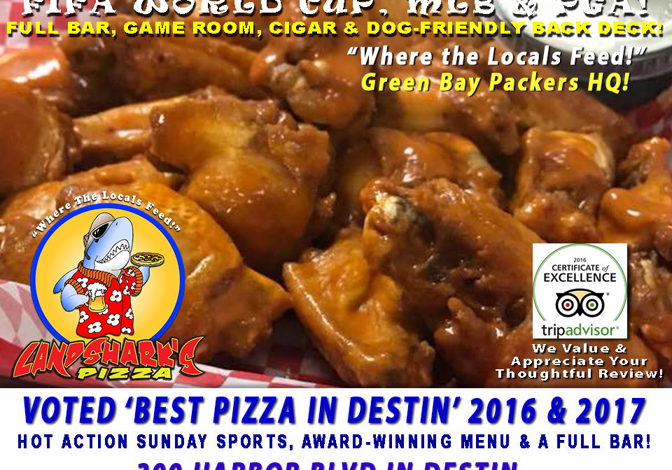 Best Sunday Sports Bar in Destin Florida at Landsharks Pizza Wings Beer Full Bar a